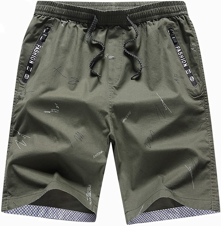 Men's Shorts Cotton Polyester Fiber Casual Drawstring Summer Beach Cotton Cargo Long Inseam Army Green 2XL