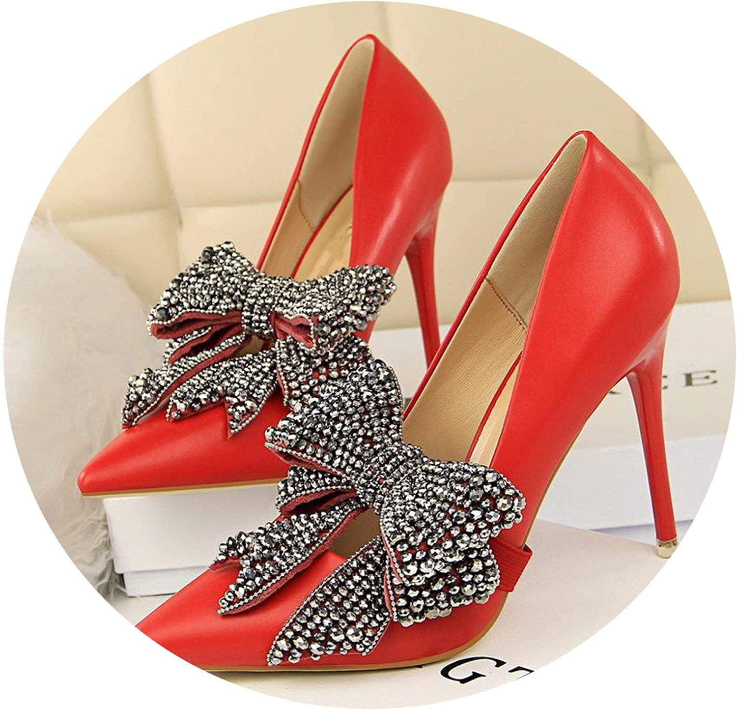 Mr Z Waroom Fashion Shallow Women Pumps Removable Crystal Bow Pointed Toe Women's High Heels shoes Thin Heels Pumps