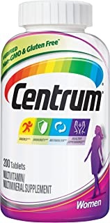 Centrum Multivitamin for Women, Multivitamin/Multimineral Supplement with Iron, Vitamins D3, B and Antioxidants - 200 Coun...