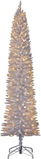 Home Heritage Modern 7 Foot Pencil Artificial Tree with Warm White LED Lights with Stand, White