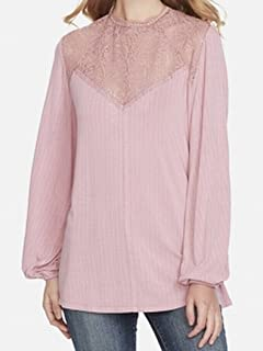 Jessica Simpson Zephyr Womens Crochet Yoked Knit Top Pink XS