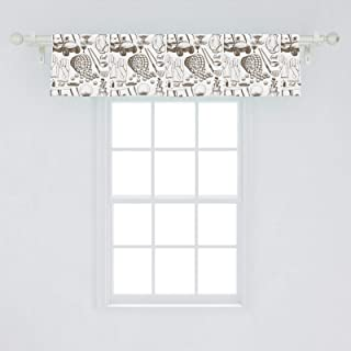Ambesonne Golf Window Valance, Old Fashioned Basket with Balls Shoes Golf Cart Gloves Bag Sports Equipment Design, Curtain Valance for Kitchen Bedroom Decor with Rod Pocket, 54