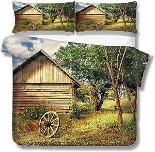 Mademai Queen Size Duvet Cover Set Rural,Log Cabin in Forest Wheel for Kids/Teens/Adults Hidden Zipper Quilt Cover Printed