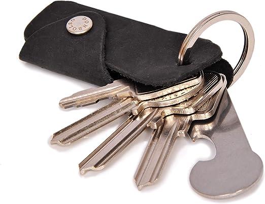 Portachiavi con liberacarrello | astuccio in cuoio per 1-6 chiavi | anello portachiavi | nero donbolso® colt B07TWSXGHP