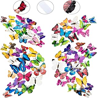 108 x PCS 3D Colorful Butterfly Wall Stickers Decal DIY Art Decor Crafts for Nursery Room Classroom Offices Kids Girl Boy Baby Room Bedroom Bathroom Living Room Sticker Set