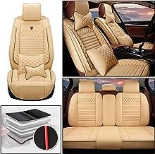DBL 5Seat LuxuryLeatherCarSeatCoverFullSetFit for Lincoln MKC MKZ MKX MKS MKT Continental Navigator AutomotiveSeatCoverswithHeadrest&LumbarSupport Type A Beige