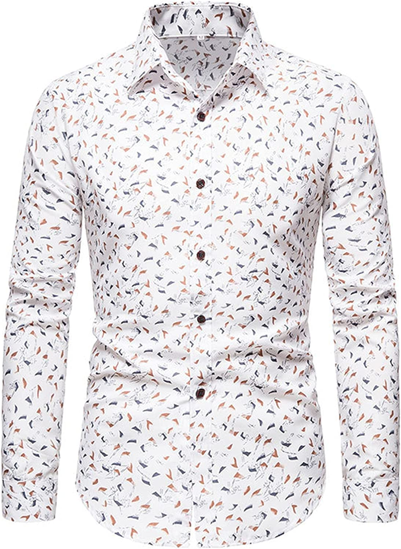 LIEIKIC Men's Floral Dress Shirts Long Sleeve Casual Button Down Flower Print Shirts