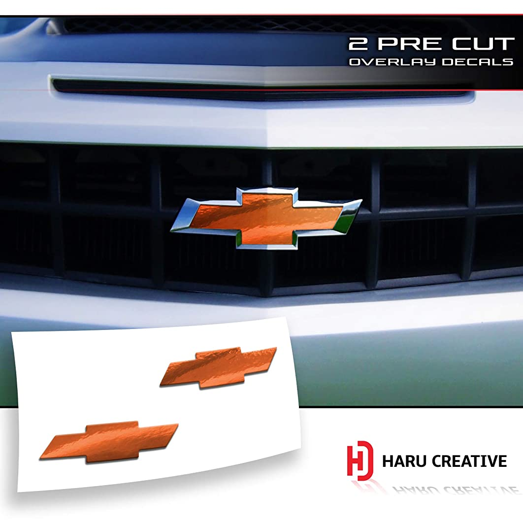 Haru Creative - Front Hood Grille Tailgate Bumper Trunk Bowtie Emblem Overlay Vinyl Decal Compatible Fits Chevy Chevrolet Camaro 2010-2013 - Chrome Gold