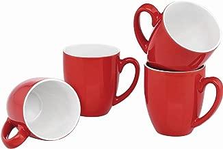 Culver 14-Ounce Bistro Ceramic Mug, Set of 4 Red
