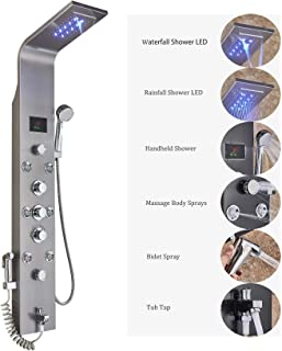 Rozin LED Light Rain Waterfall Shower Panel Set Thermostatic Mixer Control Tub Faucet + Massage Jets + Handheld Sprays Stainless Steel