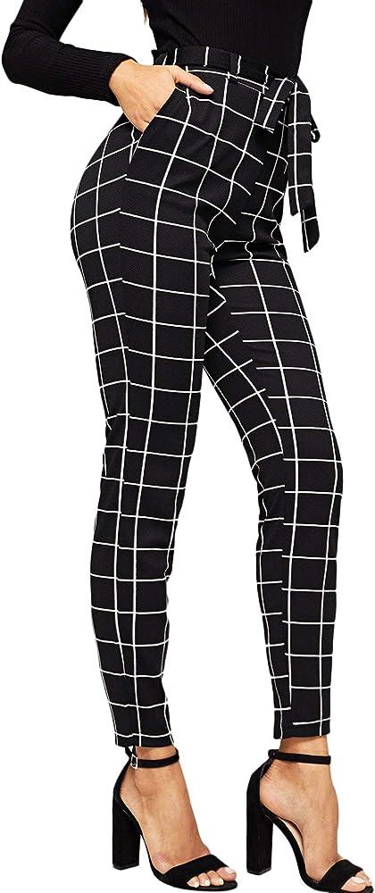 Soly hux, pantaloni da donna a quadretti, vita elasticizzata,con o senza cintura,100% poliestere 181024766-18-16-XS