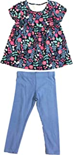 e66be34da561c Toddler Little Girls Floral Flower & Fern Shirt Light Blue Leggings Outfit