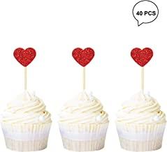 Newqueen Glitter Heart Cupcake Toppers Picks for Sweet Love Theme Wedding Engagement Bridal Shower Party Cake Decors 40 Pack Red