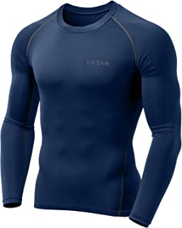 TSLA Men's Long Sleeve T-Shirt Baselayer Cool Dry Compression Top Round Neck