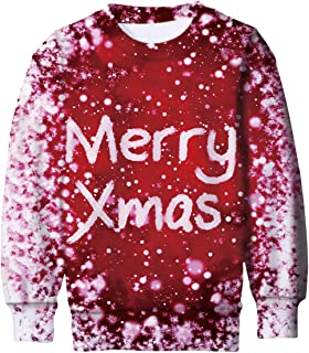 Boys Girls Ugly Christmas Sweater Funny 3D Printed Fleece Sweatshirts Xmas Pullover Jumpers Graphic Tee Shirts 4-16T
