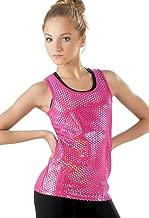 Balera Foil Tank Top Girls Hologram Foil for Dance Metallic Sleeveless Shirt Lipstick Child Medium