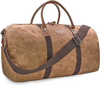 NEWHEY Vintage Reisetasche Leder Wasserdicht Canvas Unisex Handgepäck Weekender Tasche Stoff Duffle Bag Groß Wochenend Tasche Herren Damen Braun