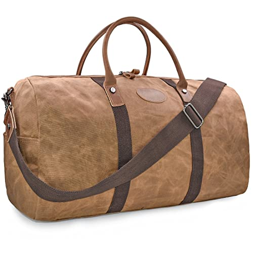 478e384b9964 Mens Travel Duffle Weekend Overnight Bag Waterproof Vintage Canvas Genuine Leather  Holdall Satchel Totes Bag Brown