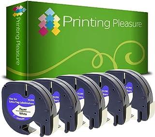 Printing Pleasure 12267 S0721530 Nero su Trasparente Nastro compatibile per Dymo LetraTag LT100H LT100T LT110T QX50 XR plastica 12mm x 4m