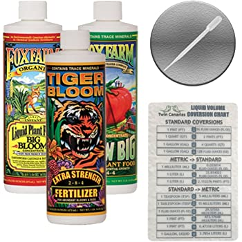Fox Farm Liquid Nutrient Trio Soil Formula: Big Bloom, Grow Big, Tiger Bloom (Pack of 3-16 oz. Bottles) 1 Pint Each + Twin Canaries Chart & Pipette