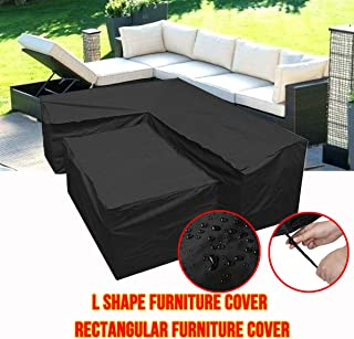 Silvotek Funda para sofá en Forma de L - Funda Sofa esquinero en Forma de L con Cuerdas de apriete en la Parte Inferior,210D Funda para sofá en L (L Forma 270x270x90 cm + Rectangular 155x95x68 cm)