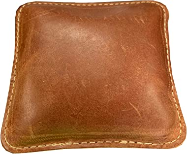"""3 1/2"""" Square Steel Shot Filled Leather (Map) Paperweight"""