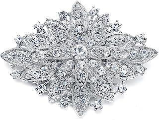 Mariell Vintage Wedding Crystal Bridal Brooch Pin - Stunning Art Deco Fashion - Platinum Plated