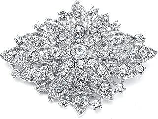 Vintage Wedding Crystal Bridal Brooch Pin - Stunning Art Deco Fashion - Platinum Plated