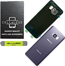CELL4LESS Replacement Back Glass Cover Back Door w/Installed Camera Lens and Frame, Custom Removal Tool & Adhesive for Samsung Galaxy S8+ Plus OEM - All Models G955 (Gray)