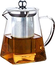 ANSIO Szklany dzbanek do herbaty z zaparzaczem 550 ml borokrzemowy pokrywka ze stali nierdzewnej 304, przezroczysty zaparz...