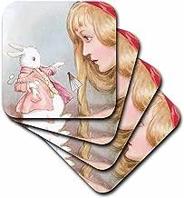 3dRose CST_164585_3 Alice in Wonderland with Rabbit Vintage Art Ceramic Tile Coasters, (Set of 4)
