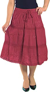 Solid Color Bohemian Hippie Belly Gypsy Short Cotton Mid Length Skirt