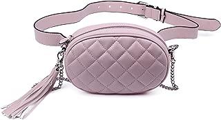 Oweisong Women Fashion Waist Bags Leather Fanny Pack Tassel Belt Quilted Shoulder Purse Waterproof Bum Bag