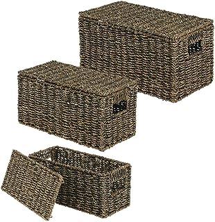 mDesign boîte de rangement (set de 3) – panier pour vêtements élégant avec couvercle en algues – panier tressé avec poigné...