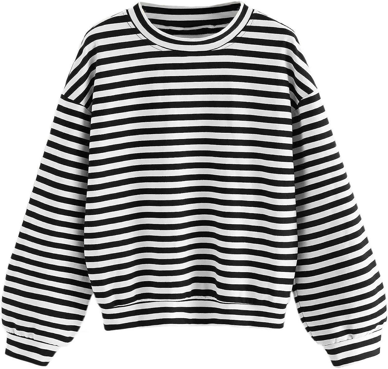 Floerns Women's Drop Shoulder Striped Long Sleeve Sweatshirt