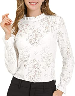 Allegra K Women's Crochet Lace See Through Top Ruffle Frill Neck Floral Elegant Blouse