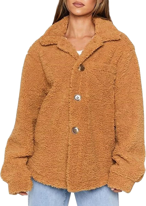 Ermonn Women's Fuzzy Fleece Jacket Button Down Long Sleeve Sherpa Shaggy Lapel Warm Soft Teddy Coat with Pocket