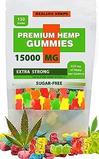 Premium Organic Hemp Sugar-Free Gummies Natural Health Support 15000MG, 166MG Each, High Potency Relaxing, Stress & Anxiety Relief Rich in Vitamins B, E, C, D, Omega 3, 6, 9 Super Friendly Gummy Bears