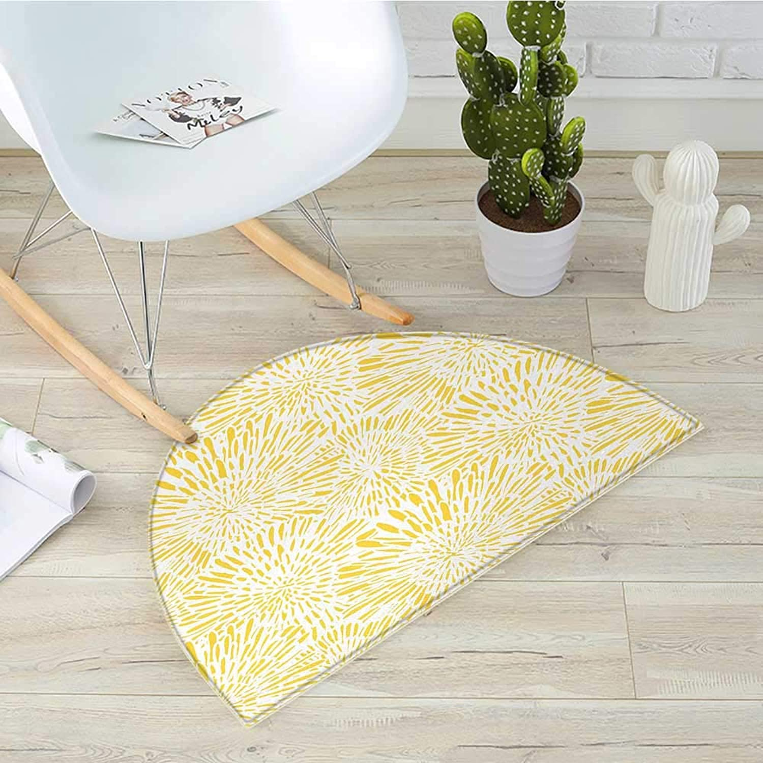 Yellow Semicircle Doormat Hand Drawn Vintage Floral Pattern with Dandelions Asters Abstract Blossoms Nature Halfmoon doormats H 31.5  xD 47.2  Yellow White