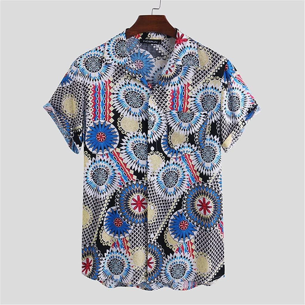 SKREOJF Summer Max 45% OFF Men Printing Shirt Albuquerque Mall Lapel Button Breathable Street