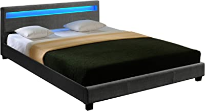 Lit Double Rembourré Design avec Éclairage LED en 6 Couleurs Sommier à Lattes Polyester 180 x 200 cm Gris Foncé