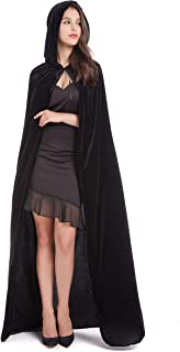 59inches Unisex Long Velvet Hooded Cloak for Halloween Christmas Masquerade Cosplay Costume