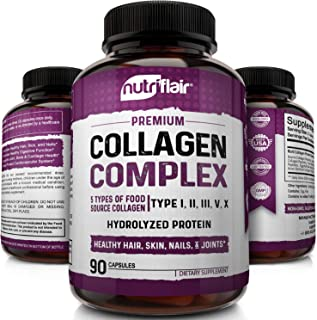 NutriFlair Multi Collagen Pills - Type I, II, III, V, X - Premium Collagen Peptides Complex for Anti-Aging and Healthy Joints, Hair, Skin, and Nails - Hydrolyzed Protein Supplement for Women and Men