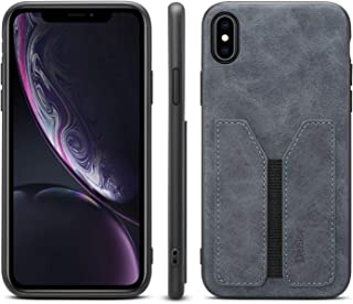 Case Compatible with Apple iPhone X XS, Women Girl Men Thin Soft PU Slim Shockproof Leather Fashion Durable Credit Card Slot Shell Cover Grey