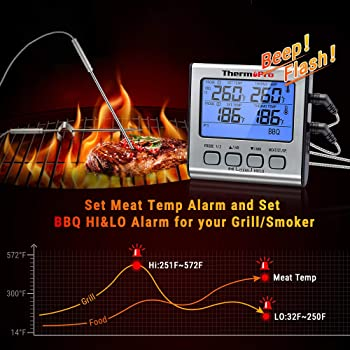 ThermoPro TP-17 Dual Probe Digital Cooking Meat Thermometer Large LCD Backlight Food Grill Thermometer with Timer Mod...