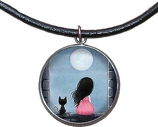 Ciondolo in acciaio inossidabile, 30mm, cordoncino di cuoio, fatto a mano, illustrazione Ragazza e gatto sotto la luna