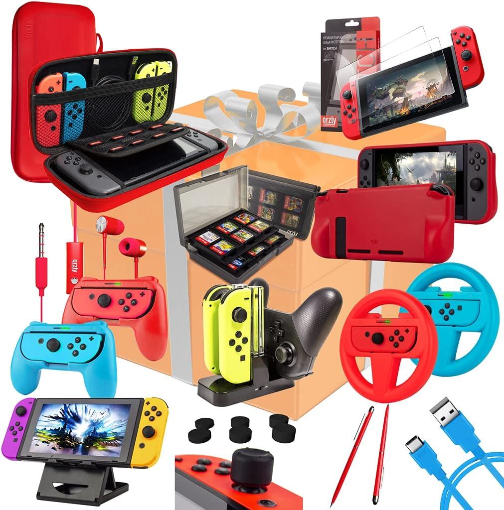 Orzly Kit Accesorios para Nintendo Switch Geek Pack con: Funda y Protector de Pantalla Switch, Empuñaduras & Volante para mandos JoyCon, Una Base de Carga USB y Un Soporte portátil, y más [ColorPo