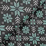 S&W Sommersweat Norway Knit Schneeflocken Mint/grau - Stoff