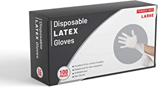 Pack of 100 Disposable Latex Gloves, Powder Free, for Multi Purpose Use (Large)