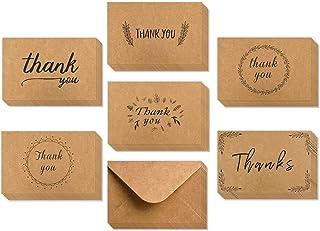 Tarjetas de agradecimiento, Ohuhu 36 Paquete de papel kraft marrón Tarjeta de agradecimiento Tarjeta de agradecimiento Tarjeta de felicitación W/ 36 sobres de papel kraft para el Ala, Graduación